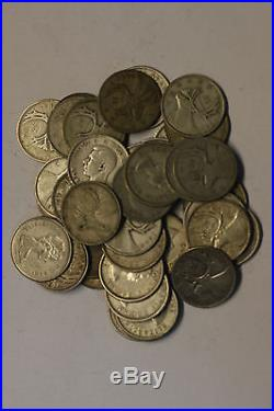(Roll of 40) Canadian 80% Silver Quarters, Various Dates & Grades G/AU, Free S/H