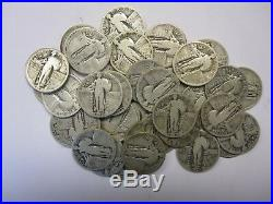 (Roll of 40) Silver Standing Liberty Quarters incl. A 1917, Average Circulated