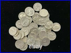 Roll of (40) Washington 1964 Circulated Silver Quarters NICE