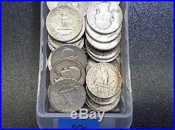Roll of 40 Washington 90% SILVER QUARTERS Vintage US CoinsReadable Dates