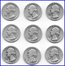 Roll of 40 Washington 90% Silver Quarter Coins, 1930s 1940s 1950s, $10 face, 25C