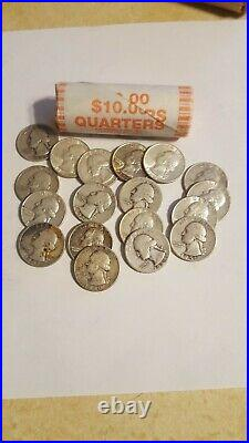 Roll of 40 Washington 90%Silver Quarters, $10 Face Value. CIRCULATED
