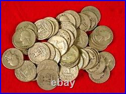 Roll of 40 Washington Quarters $10 Face Value 90% Silver Mixed Dates Pre 1965