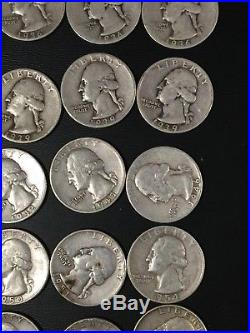 Roll of 40 Washington Quarters Mixed Dates Circulated 90% Silver 34-64
