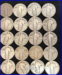 Roll of Standing Liberty Quarters 90% Silver 40 coin lot. WITH DATES