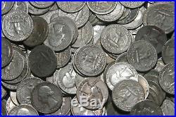 SEVEN (7) ROLLS OF WASHINGTON QUARTERS (1932-64) 90% Silver (280 Coins) T48