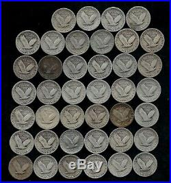 STANDING LIBERTY QUARTER ROLL (1925-30) 90% Silver (40 Coins) LOT D48