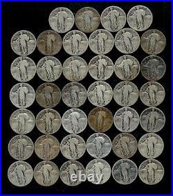 STANDING LIBERTY QUARTER ROLL (1925-30) 90% Silver (40 Coins) LOT D81