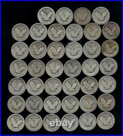 STANDING LIBERTY QUARTER ROLL (WORN/DAMAGED) 90% Silver (40 Coins) LOT D19