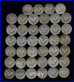 STANDING LIBERTY QUARTER ROLL (WORN/DAMAGED) 90% Silver (40 Coins) LOT D20