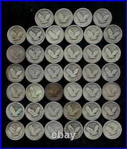 STANDING LIBERTY QUARTER ROLL (WORN/DAMAGED) 90% Silver (40 Coins) LOT D26