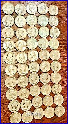 Silver 1941-1964 Washington Quarters roll of 50 some r Uncirculated $12.50 Face