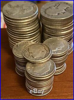 Silver Coin Lot- (40)Washington Quarters & (50)Roosevelt Dimes- 1 Roll Of Each