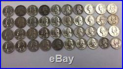 Silver Washington Quarters Full Roll Of 40 1952-1964 90% Silver