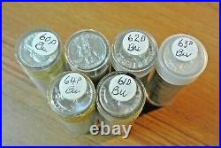 Six Rolls Bu Washington Quarters 1960-d, 2-1961-d, 62-d, 63-d, 64-d