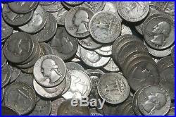 THREE (3) ROLLS OF WASHINGTON QUARTERS (1932-64) 90% Silver (120 Coins) A08