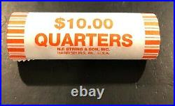 US 90% Silver Washington Quarters Circulated $10 Face Value Coin Roll Unsearched