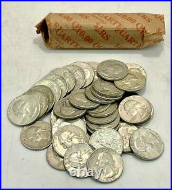 United States Mint Full Roll of 90% Silver 1932 1964 Washington Quarters (40)