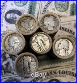Unsearched Silver Quarter Roll 1892-1964 PDSO Mints $10 Window Wrapper Roll