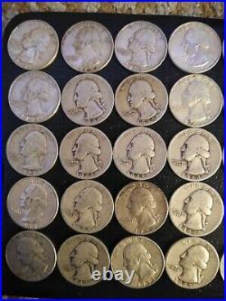 WASHINGTON QUARTERS $10 Face Value 90% Silver 40/Roll ESTATE SALE pre 1964
