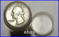 Washington Quarter 1/2 Roll Silver 90% $5 20 Coin 1932-1964 PDS FULL DATE WithTUBE