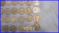 Washington Quarter Dollar 90% Silver 40 Coin Roll Mixed Dates $10 Face Value