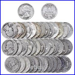 Washington Quarter Roll 90% Silver $10 Face 40 Circulated Mixed Date US Coin Lot