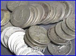 Washington Quarter Roll, Lot of 40 Coins, 90% Silver, $10 Face Avg Circ