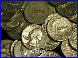 Washington Quarters 90% Silver $10 Face Roll 40 Coins Mixed Dates & Mints L2