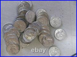 Washington Silver 25c 1964 D Full Roll of 40 3 with Repunched mint marks